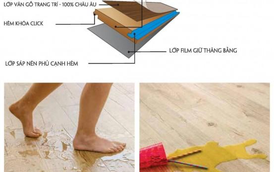 Sàn gỗ chống thấm nước giúp cho không gian ẩm ướt vẫn lát được sàn gỗ